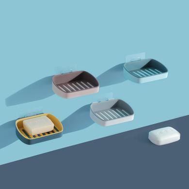 優芬 雙層瀝水肥皂盒家用創意免打孔掛壁式香皂架衛生間吸盤置物架