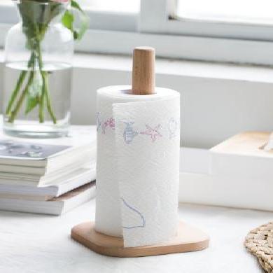 創意日式環保原木紙巾架 櫸木無漆卷紙收納架 衛生紙柱廚房紙巾架