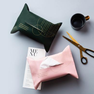 摩登主婦 北歐皮革紙巾袋創意車載ins風家用簡約桌面燙金餐巾紙袋
