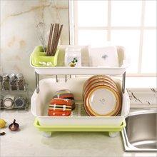塑料雙層碗架廚房置物架瀝水碗碟盆架收納