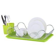 雅客集绿色托盘型单层碗盘架ML-13137 厨房置物架沥水架