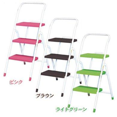 爱丽思IRIS 家庭室内折叠梯加厚人字三步金属梯 彩色梯子OSU-3