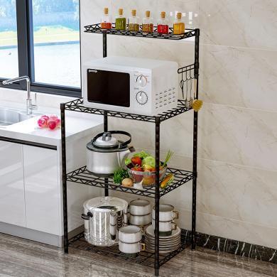 索爾諾  可調節廚房置物架落地鍋架微波爐架收納架客廳層架儲物架z8814