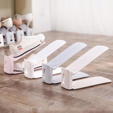 优芬 双层简易鞋子收纳架一体式可调节塑料鞋托创意家?#26377;?#23376;整理架