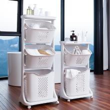 帶滑輪臟衣籃 塑料 多功能衛浴置物架 三層手提臟衣簍家用
