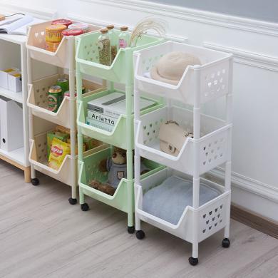 百露厨房置物架蔬菜水果收纳架落地储物浴室卫生间移动储物筐