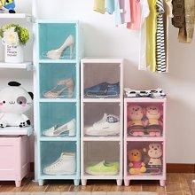 阡佰家 多层时尚收纳柜 清新可爱整理柜卧室玩具柜零食箱子书柜
