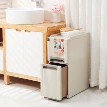 阡佰家 新款日式复古收纳柜 夹缝抽屉式储物柜卫生间带轮整理柜杂物柜子