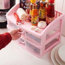 阡佰家 大号桌面收纳盒 多层浴室收纳柜塑料柜子透明简洁创意桌面抽屉柜