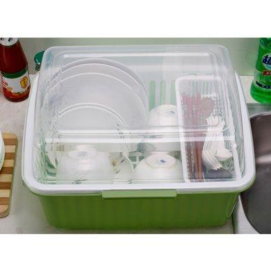 家居新版加厚瀝水籃多功能碗筷架碗柜翻蓋雙層塑料盒