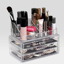 大号带抽屉式桌面收纳盒日本收纳盒亚克力透明化妆品收纳盒