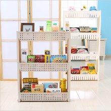廚房冰箱夾縫置物架 衛生間角架塑料收納架花型 帶輪子