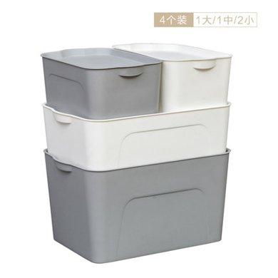 愛麗思IRIS 可疊加塑料收納箱收納盒大中小號組合裝1大1中2小