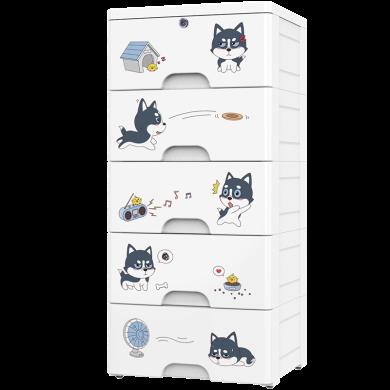 加厚卡通簡易抽屜式收納柜兒童寶寶衣柜玩具收納箱整理塑料儲物柜