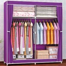 索爾諾  加粗16MM鋼管 密封防塵布衣柜 鋼管加固加厚簡易衣柜1602