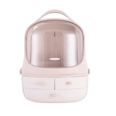 創意網紅化妝品收納盒 多功能置物架 桌面防塵收納盒首飾梳妝臺企鵝