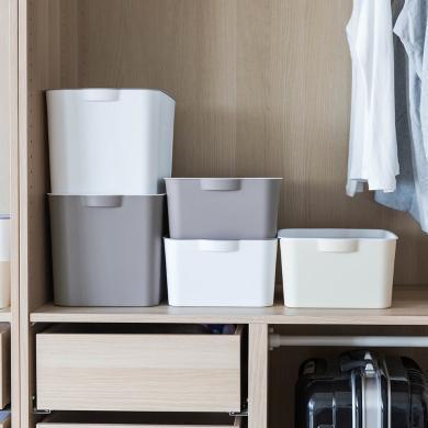摩登主婦日式有蓋收納盒家用塑料衣服收納箱內衣整理儲物箱子