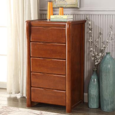 雅客集全實木抽屜柜玄關儲物收納柜橡膠木經典美式五斗柜WN-16087WA