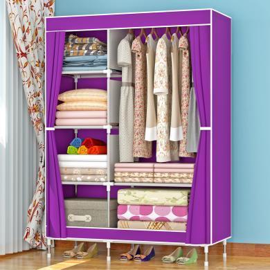 索爾諾 加固布衣柜 鋼管加粗加厚簡易衣柜防塵組裝折疊布衣櫥1321