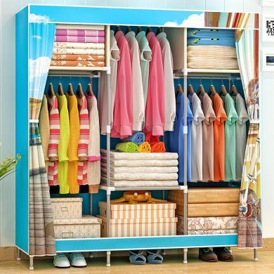 索爾諾  簡易衣柜 雙人布衣柜鋼管加粗加固鋼架衣廚防塵收納柜1381-1