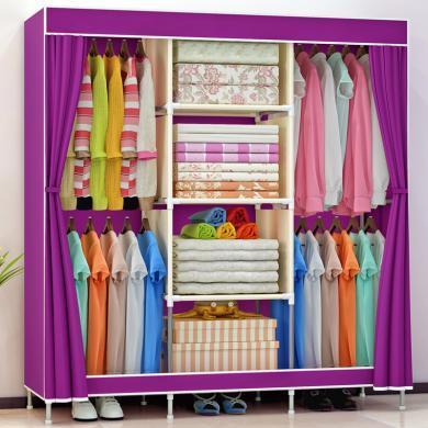 索爾諾 簡易衣柜加固防塵大號布衣柜折疊衣櫥1406