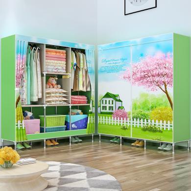 索爾諾  簡易衣柜 雙人布衣柜鋼管加粗加固單人衣櫥布藝組裝收納柜1385