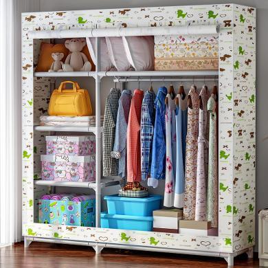 索爾諾  布衣柜25MM鋼管衣櫥 鋼管加固加厚簡易牛津布衣柜 8508