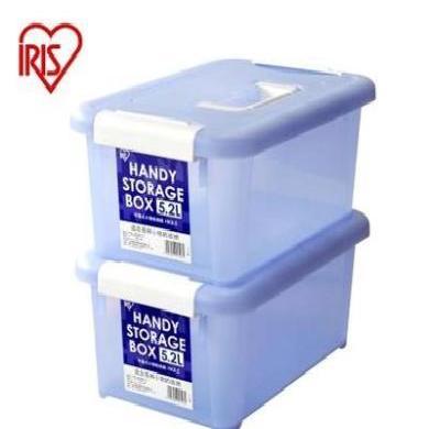 愛麗思IRIS手提式小物件塑料收納箱整理儲物箱收納盒藍色HKB-5單個裝