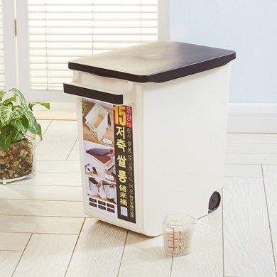 阡佰家 大號米桶 容量15KG帶蓋密封儲米箱韓式塑料米缸帶滑輪有提手移動米桶