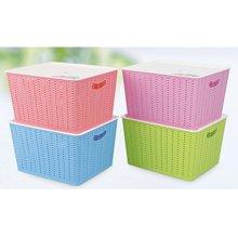 多色收纳置物篮加厚长方形塑料收纳篮 厨房浴?#19968;?#22918;品桌面收纳置物篮整理筐
