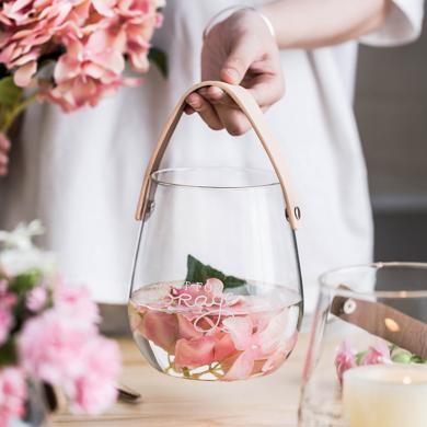 摩登主妇 手提玻璃铜钱草水培瓶英文字母花盆创意插花瓶收纳罐子