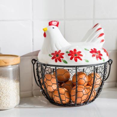 摩登主婦創意金屬雞蛋籃水果籃蔬菜雜物收納籃廚房陶瓷母雞鐵編籃
