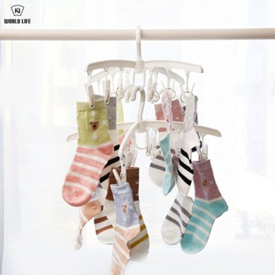 和匠 日式12夾家用晾曬架可拆卸 襪子 內衣 小件旋轉折疊衣架-Y-800