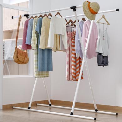 索爾諾 晾衣架落地拆裝室內雙桿式陽臺掛衣伸縮晾衣桿簡易曬衣架子X54