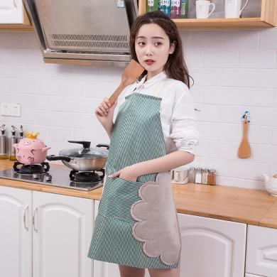 优芬厨房可擦手亚麻围裙无袖纯棉时尚做饭炒菜厨房可调节防油罩衣