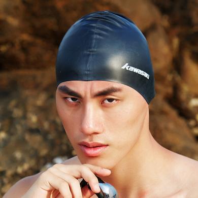 川崎泳帽女硅膠長發防水不勒頭時尚成人男士泳鏡布游泳帽