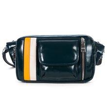 丹爵(DANJUE)头层牛皮男士休闲运动小包撞色男腰包单肩斜挎背包8741-2