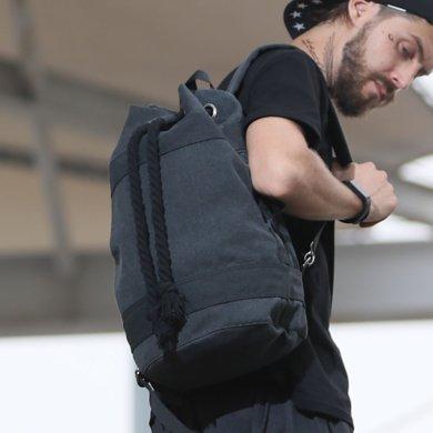 香炫兒XIASUAR 健身背包男籃球包束口袋抽繩帆布雙肩包女輕便戶外運動布袋水桶包