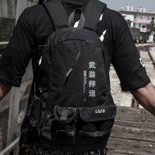 香炫儿XIASUAR 暗黑武装押运包大容量多功能旅行背包双肩包男时尚潮流学生旅行包