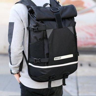 香炫兒XIASUAR 潮牌翻卷蓋雙肩包男大容量背包男士潮流發光電腦旅行包書包