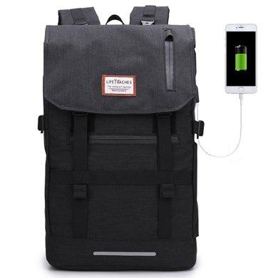 香炫兒XIASUAR 卷蓋雙肩包男士背包大容量韓版大學生書包電腦休閑旅行包女