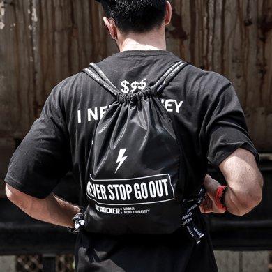 香炫兒XIASUAR 束口袋抽繩雙肩包男拉繩健身訓練背包戶外運動騎行籃球書包女輕便