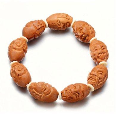 衡潤 橄欖核手串 雙面十八羅漢手鏈 手工雕刻木飾男女文玩手鏈HR13H0143-1