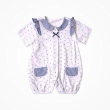 丑丑婴幼夏季新款前开扣中袖连体衣新生儿休闲前开爬服哈衣 0-1岁