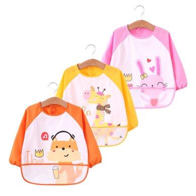 【 99選3】媽唯樂Marvelous Kids 兒童反穿罩衣防水三件裝長袖寶寶吃飯飯兜畫畫衣