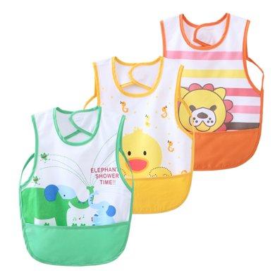 【99選3】媽唯樂Marvelous Kids 寶寶罩衣防水三件裝卡通印花兒童吃飯飯兜反穿衣