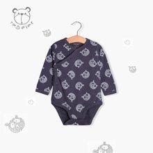 特贝尔秋冬婴儿护肚三角哈衣长袖纯棉2017新生儿内衣爬服连体衣7024-深蓝熊猫