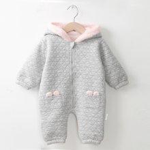 冬加厚連體衣爬服毛絨嬰兒冬季連帽加絨棉服保暖時尚新生兒外出服7009D