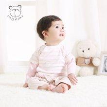 特贝尔婴儿衣服秋季外出服条纹拼色日系纯棉宝宝连体衣爬服7002D