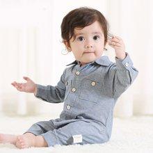 特贝尔秋季新款婴儿polo领纯棉牛仔连体衣新生儿长袖爬行服外出服7006D